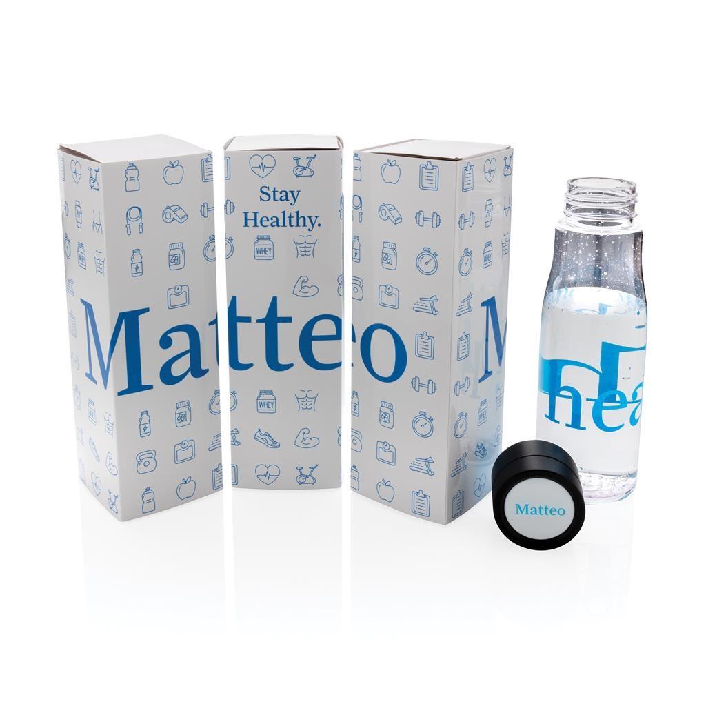 Muestra con logo botella antigoteo de hidratación Aqua