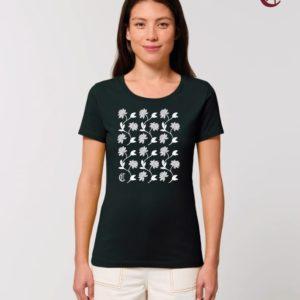 Camiseta Chica Diseño Flores Negra - Gris