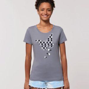 Camiseta Chica Diseño Mariposas Gris Negra