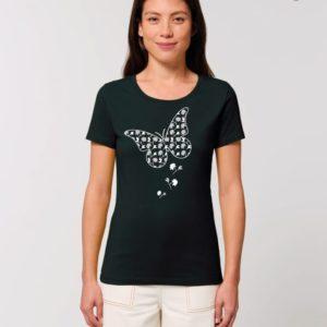 Camiseta Chica Diseño Mariposas Negro - Gris
