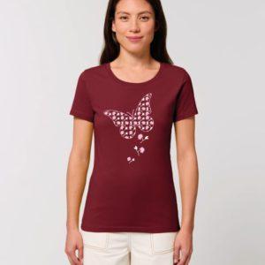 Camiseta Chica Diseño Mariposas Granate
