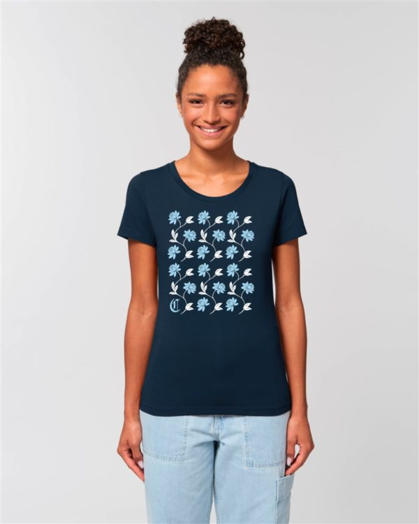 Camiseta Chica Diseño Flores Azul