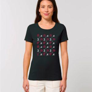 Camiseta Chica Diseño Flores Negro - Rojo