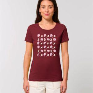 Camiseta Chica Diseño Flores Granate