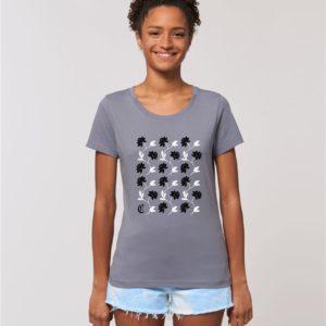 Camiseta Chica Diseño Flores Gris-Negro